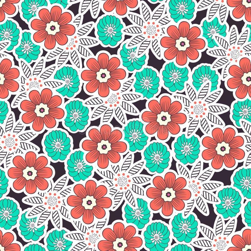 Mod?le sans couture de fleurs de griffonnage, fond floral color? Bourgeon floral de corail, vert, blanc sur le contexte foncé, de illustration libre de droits