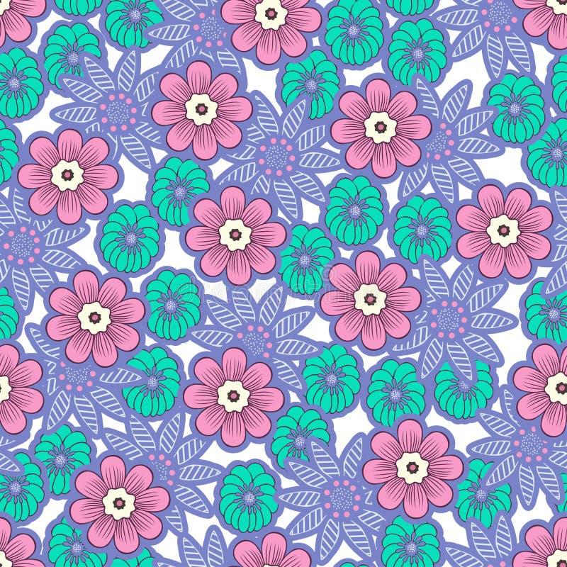 Mod?le sans couture de fleurs de griffonnage, fond floral color? Bourgeon floral pourpre, rose, vert sur le contexte blanc, dessi illustration de vecteur