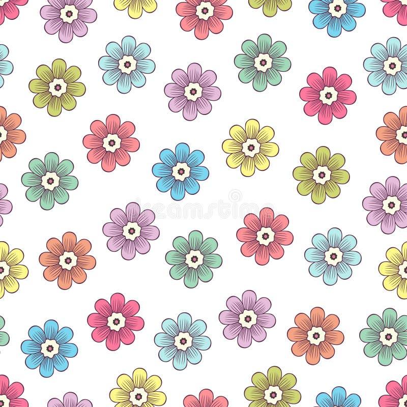 Mod?le sans couture de fleurs de griffonnage, fond floral color? Bourgeons lumineux multicolores avec des p?tales sur le contexte illustration de vecteur