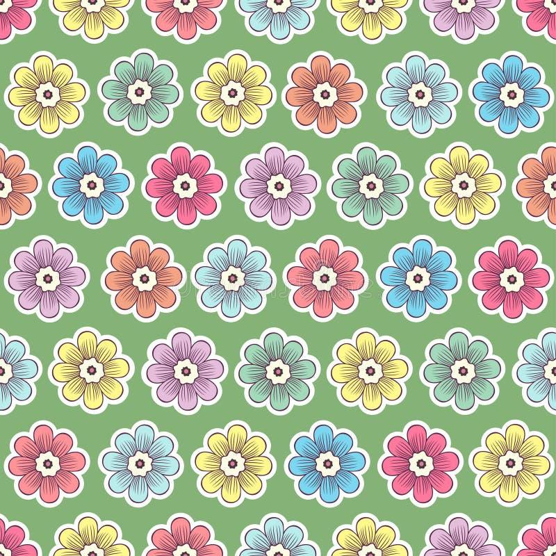 Mod?le sans couture de fleurs de griffonnage, fond floral color? Multicolore avec les bourgeons blancs de course sur le contexte  illustration de vecteur
