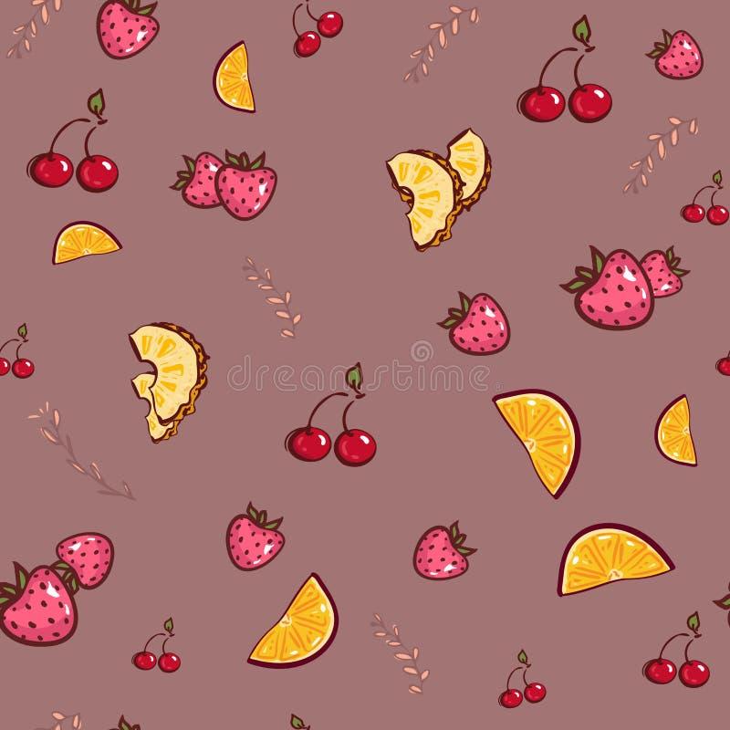 Mod?le sans couture de fruit de vecteur l'orange, fraise, composition en été de cerise d'ananas des vitamines de fruits remettent illustration de vecteur