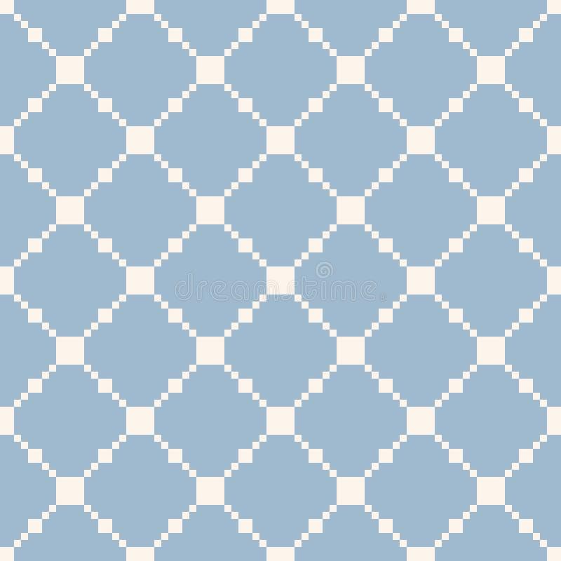 Mod?le sans couture de grille carr?e Dirigez la texture géométrique bleu-clair et blanche illustration stock