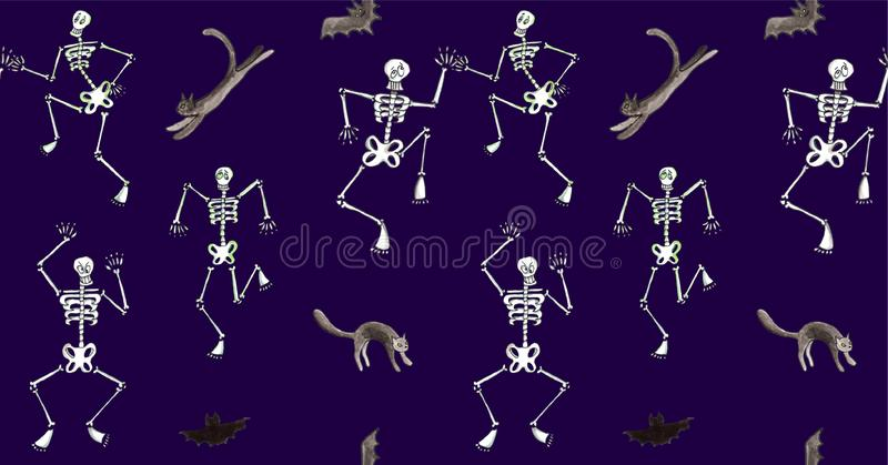 Mod?le sans couture de Halloween d'aquarelle Danse squelettique drôle avec des chats et des battes illustration libre de droits