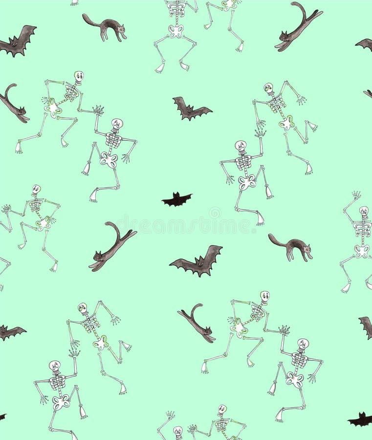Mod?le sans couture de Halloween d'aquarelle Danse squelettique drôle avec des chats et des battes illustration stock