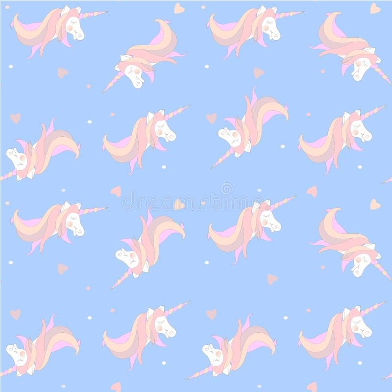 Mod?le sans couture de licorne Animal fantastique rose blanc sur les enfants bleus illustration de vecteur