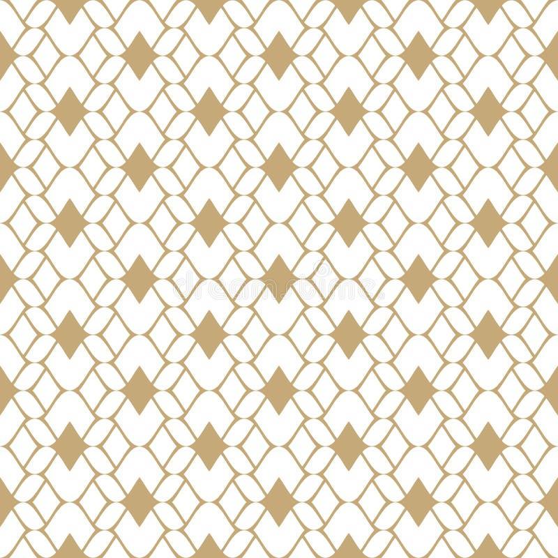 Mod?le sans couture de maille d'or Fond géométrique d'ornement d'abrégé sur vecteur illustration stock