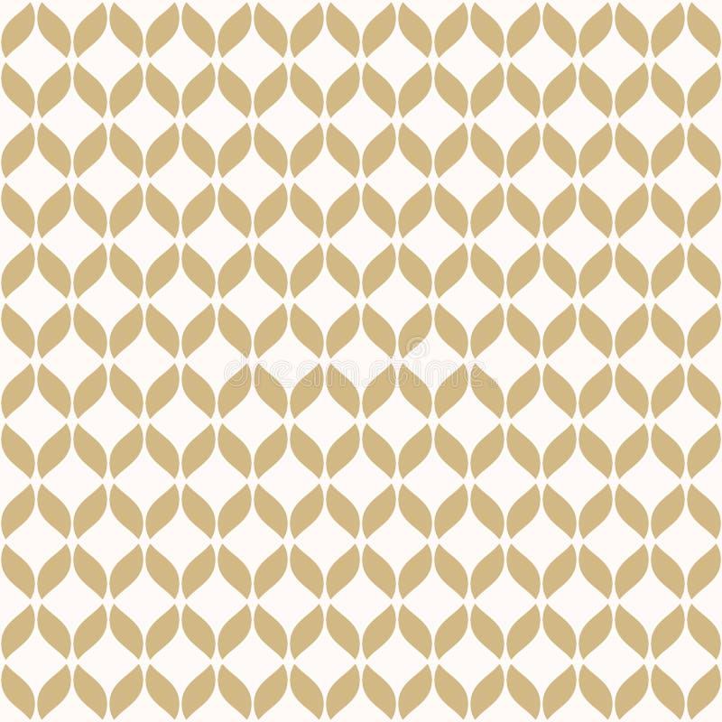 Mod?le sans couture de maille d'or de vecteur Or simple et texture g?om?trique blanche illustration stock