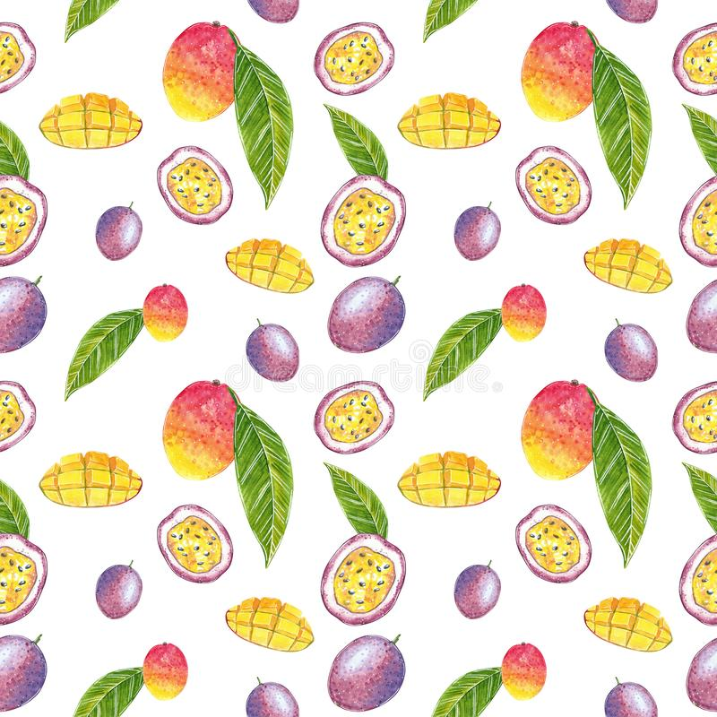 Mod?le sans couture de mangue et de passiflore comestible de passiflore, illustration d'aquarelle illustration de vecteur