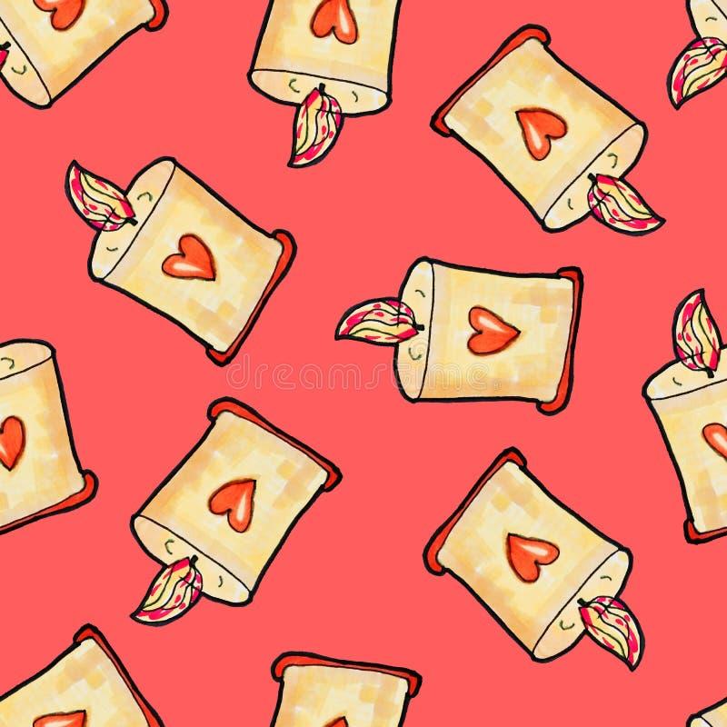 Mod?le sans couture de No?l tir? par la main Bougie de Noël avec le coeur sur sur un fond rouge An neuf heureux illustration libre de droits