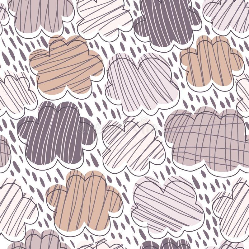 Mod?le sans couture de nuages tir?s par la main Fond de temps Contexte de pluie illustration stock