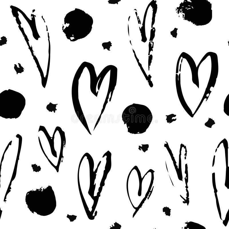Mod?le sans couture de peinture tir?e par la main Fond de coeurs Dessin de brosse abstrait illustration grunge d'art de vecteur illustration libre de droits