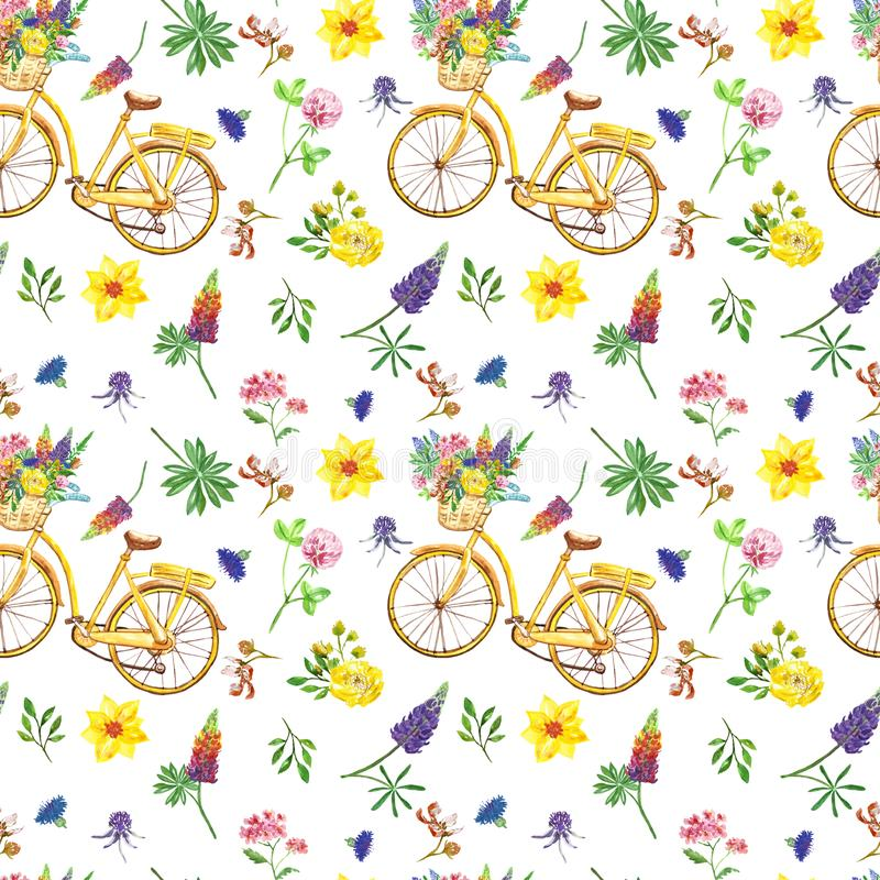 Mod?le sans couture de pr? d'?t? Wildflowers et rétro bicyclette sur le fond blanc illustration stock