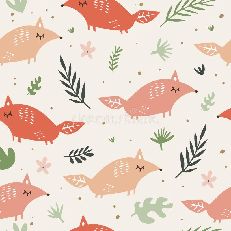 Mod?le sans couture de renards mignons Renards oranges sur le fond floral Bon pour la copie, papier d'emballage, textile, tissus, illustration libre de droits