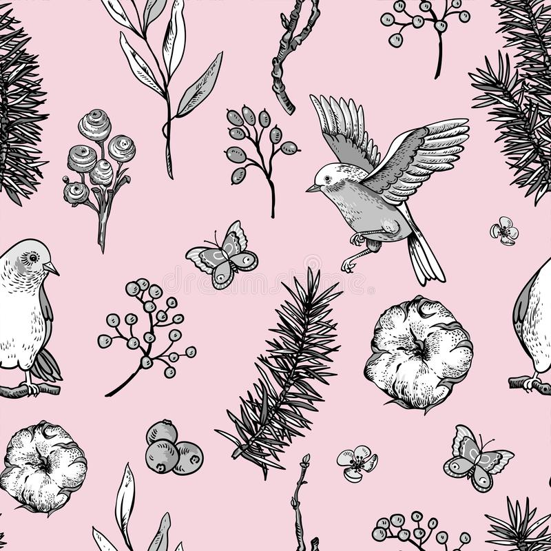 Mod?le sans couture de ressort floral de cru de vecteur avec des oiseaux, des branches de sapin, le coton, des fleurs et des papi illustration libre de droits