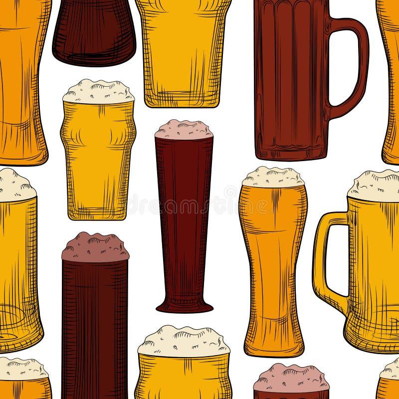 Mod?le sans couture de tasse de bi?re Pleins verres de bière avec le contexte de mousse illustration de vecteur