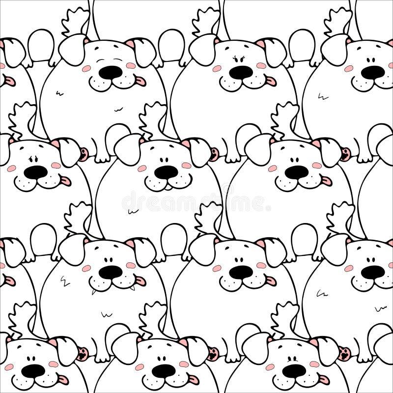 Mod?le sans couture de vecteur avec de gros animaux mignons dr?les tir?s par la main Silhouettes des animaux sur un fond blanc Te illustration stock