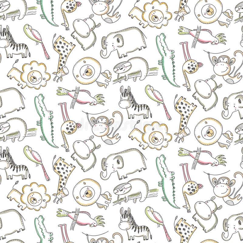Mod?le sans couture de vecteur avec les animaux de bande dessin?e, les plantes de jungle et les arbres africains illustration de vecteur