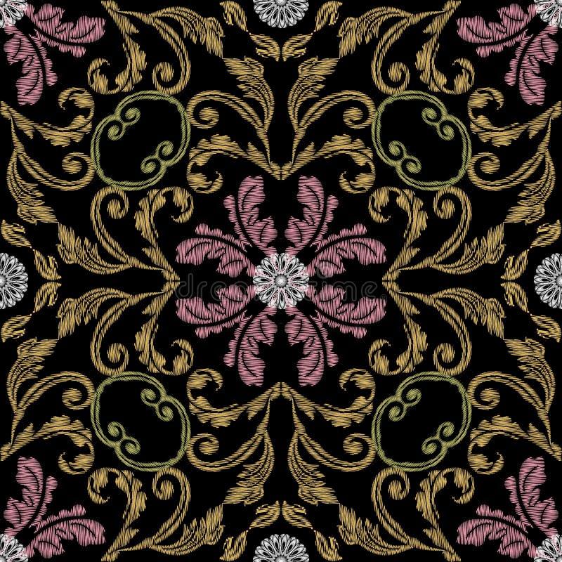 Mod?le sans couture de vecteur baroque de broderie Fond grunge floral color? Papier peint de tapisserie Fleurs de damassé d'Arras illustration stock