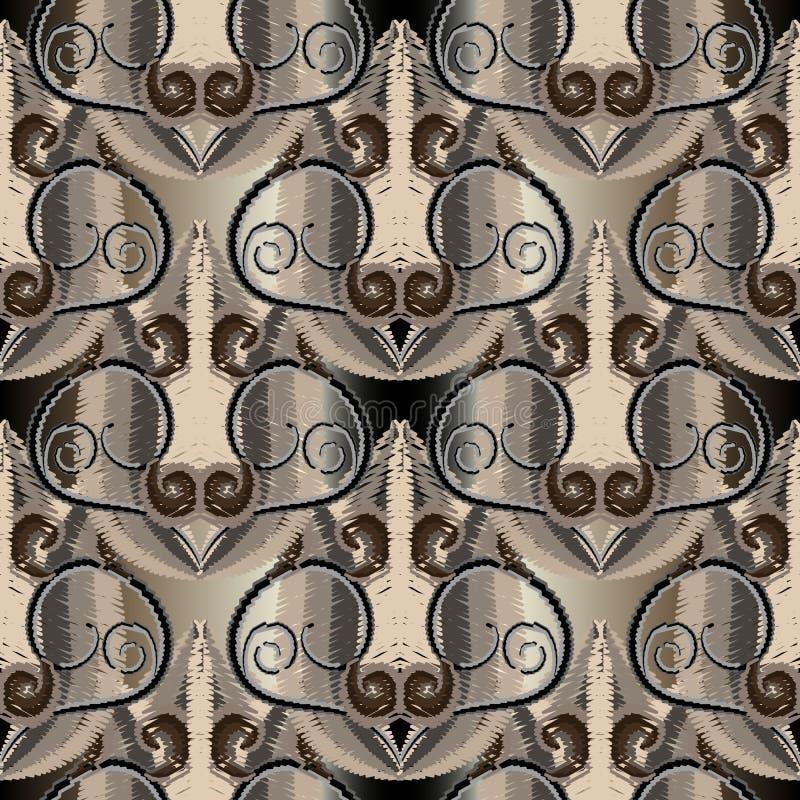 Mod?le sans couture de vecteur color? de broderie Fond grunge floral abstrait La tapisserie fleurit, des remous, lignes, courbes illustration stock