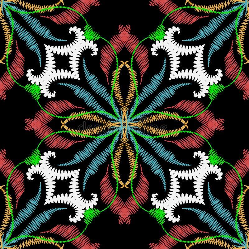 Mod?le sans couture de vecteur floral de broderie Fond baroque de damassé de grunge coloré de cru Papier peint de tapisserie Dama illustration stock