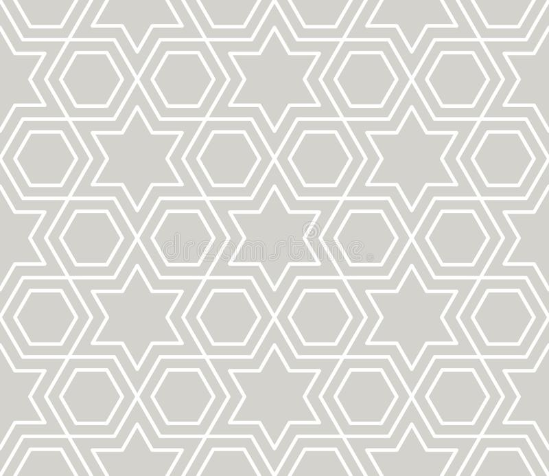 Mod?le sans couture de vecteur g?om?trique simple de r?sum? avec la ligne blanche texture sur le fond gris Moderne gris-clair illustration de vecteur