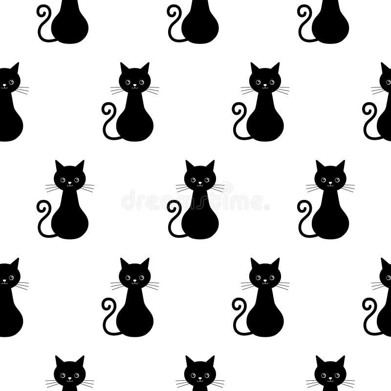 Mod?le sans couture de vecteur mignon de chats Kawaii Cat Endless Background pour le papier peint à la mode de conception ou de W illustration stock