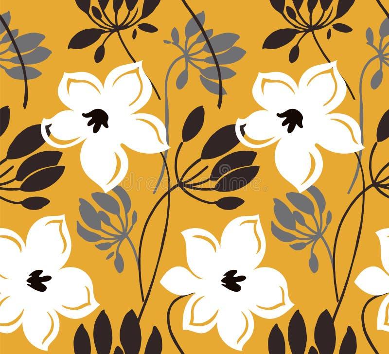 Mod?le sans couture de vecteur tir? par la main de couleur Fleurs abstraites avec des feuilles, dessin de croquis Texture florale illustration de vecteur