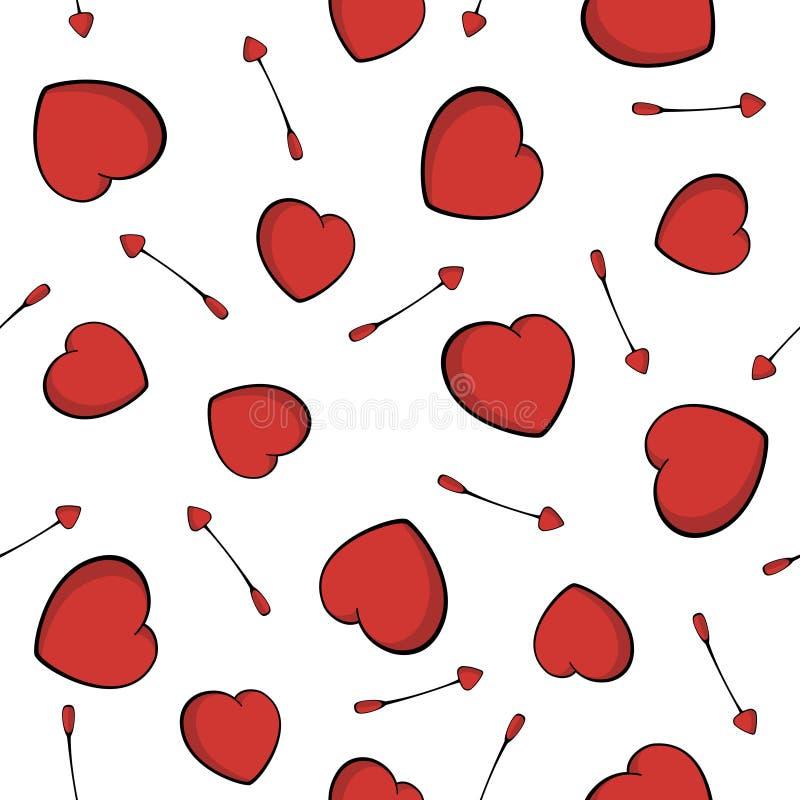 Mod?le sans couture des fl?ches du cupidon Symbole d'amour de coeur Flèches et fond mignons de coeurs pour la Saint-Valentin illustration libre de droits
