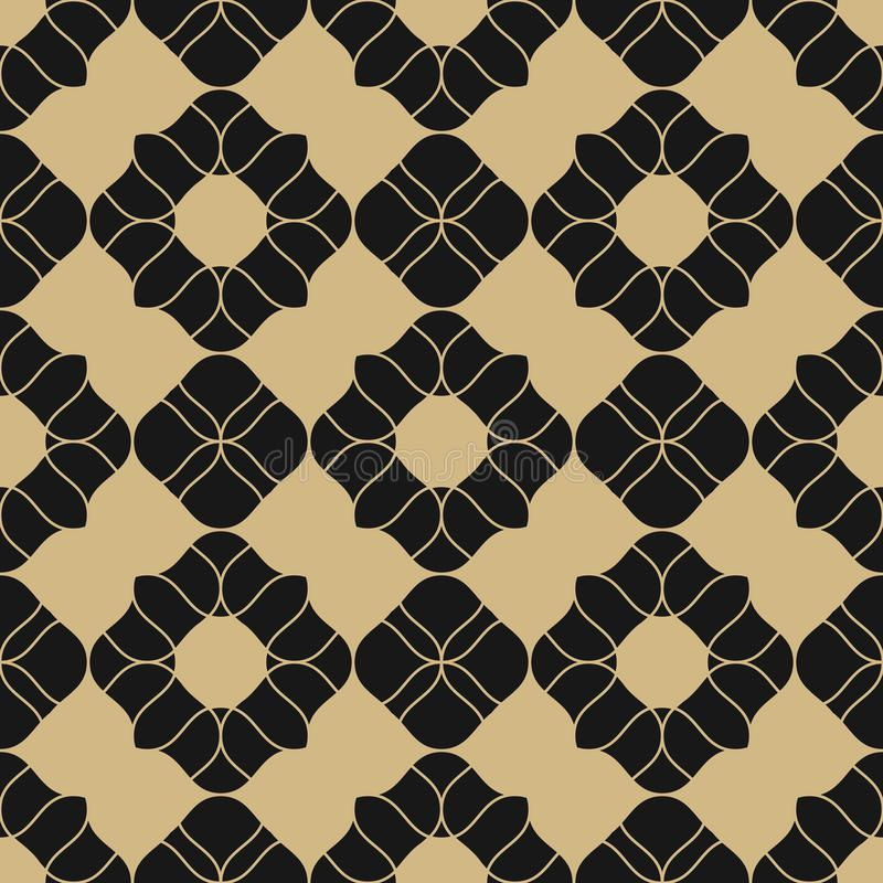 Mod?le sans couture floral d'or de vecteur Ornement abstrait de luxe noir et d'or illustration libre de droits
