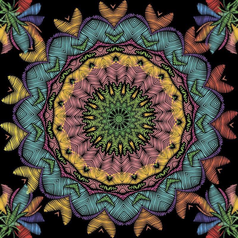 Mod?le sans couture floral de mandala de broderie texturis?e Fond color? ornemental de tapisserie Style ethnique fleuri tir? par  illustration de vecteur