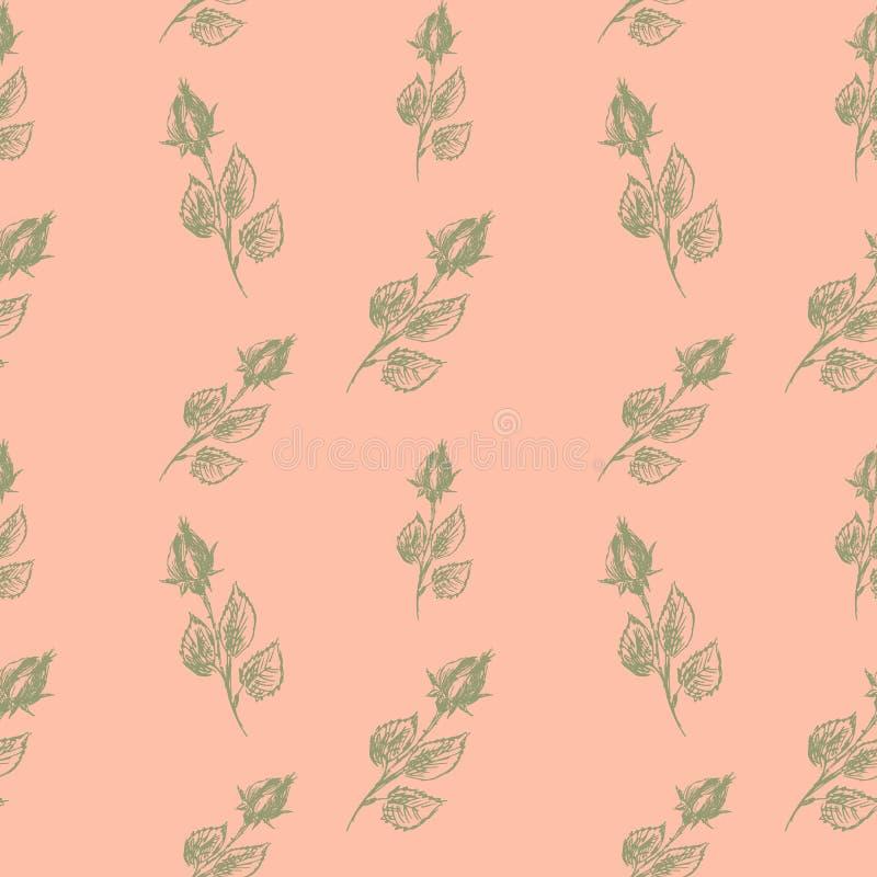 Mod?le sans couture floral de vecteur avec les roses de floraison Mod?le floral sans couture sur un fond doux de couleur de p?che illustration libre de droits