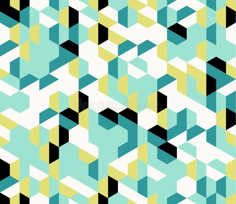Mod?le sans couture g?om?trique d'abr?g? sur irr?gulier color? vecteur avec des hexagones illustration stock