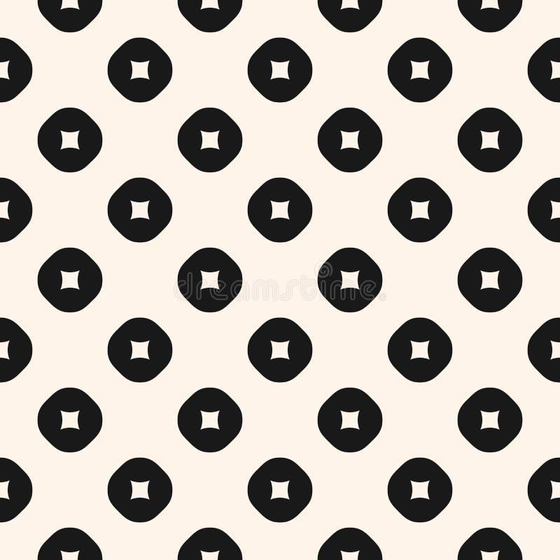 Mod?le sans couture minimaliste de vecteur avec des formes g?om?triques simples, cercles creux illustration de vecteur