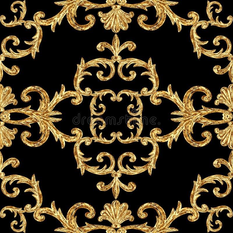 Mod?le sans couture ornemental d'?l?ments d'or baroques Texture tir?e par la main d'?l?ment d'or d'aquarelle sur le fond noir photo libre de droits