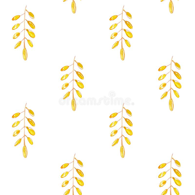 Mod?le sans couture tir? par la main d'aquarelle avec les feuilles d'automne jaunes et oranges illustration de vecteur