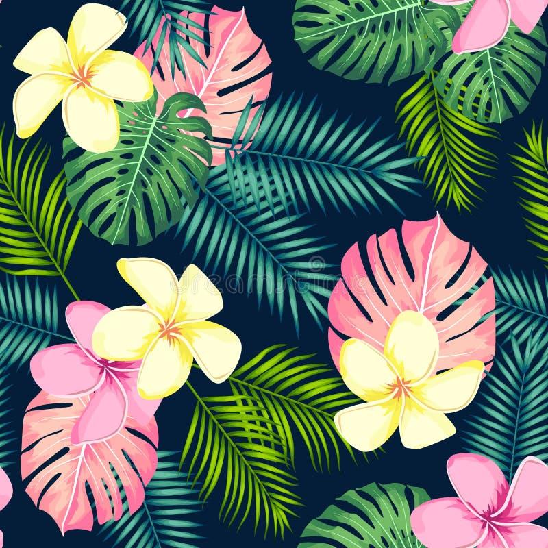 Mod?le sans couture tropical avec des palmettes et des fleurs Illustration de vecteur illustration de vecteur