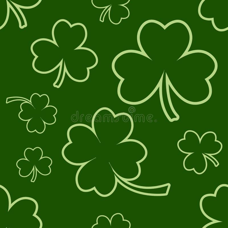 Mod?le sans couture vert avec quatre et tr?fles de feuille d'arbre pour le jour du ` s de St Patrick Vecteur illustration de vecteur