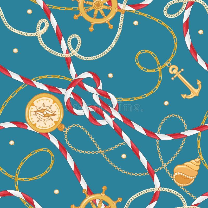 Moda Bezszwowy wzór z Złotymi łańcuchami i kotwica dla tkanina projekta Morski tło z arkaną, kępki royalty ilustracja