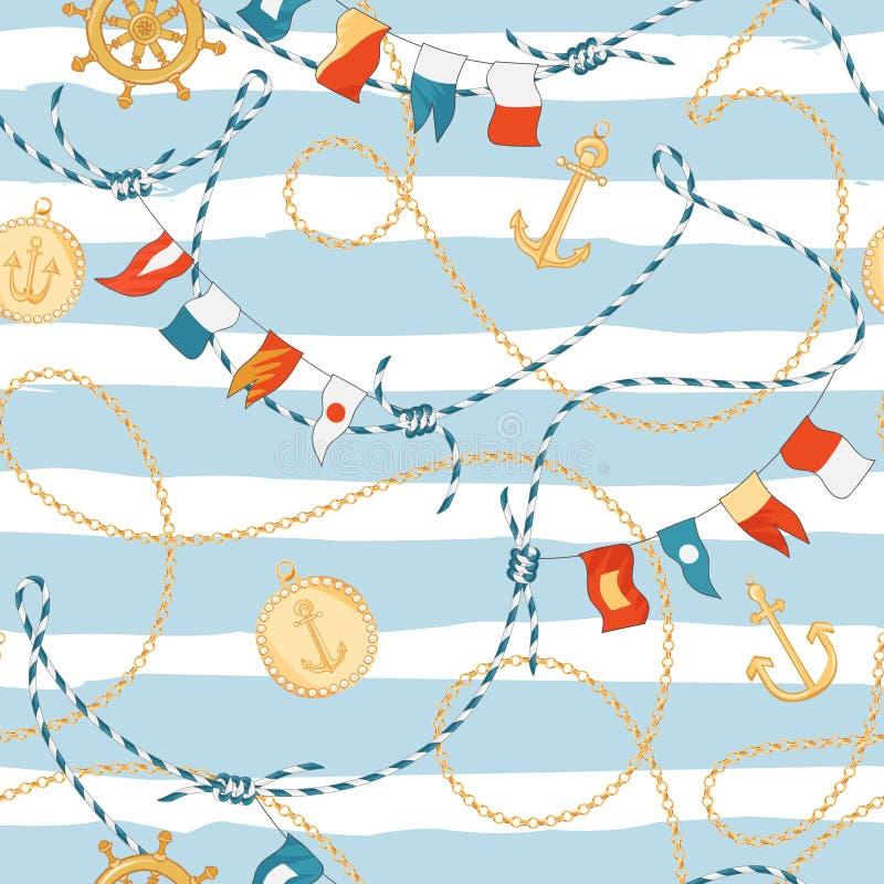 Moda Bezszwowy wzór z Złotymi łańcuchami i kotwica dla tkanina projekta Morski tło z arkaną, kępki, Zaznacza ilustracja wektor