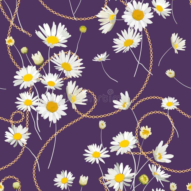Moda Bezszwowy wzór z Złotymi łańcuchami i stokrotka kwiatami Tkanina Tekstylny Kwiecisty druk z Chamomile i biżuterią ilustracja wektor