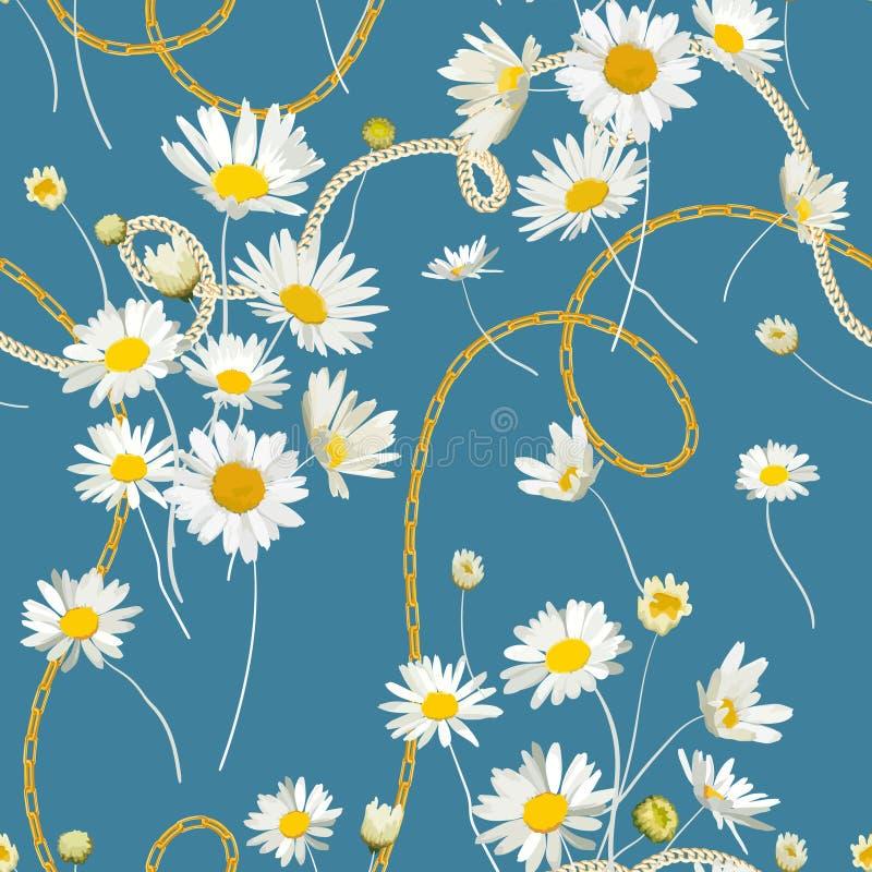 Moda Bezszwowy wzór z Złotymi łańcuchami i stokrotka kwiatami Tkanina Tekstylny Kwiecisty druk z Chamomile i biżuterią ilustracji
