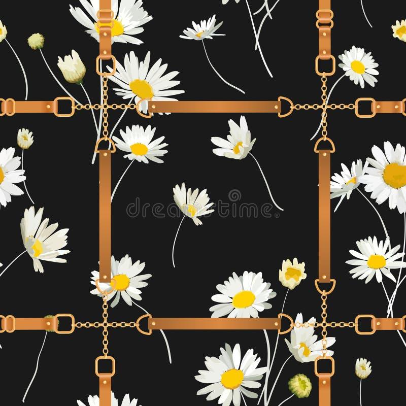Moda Bezszwowy wzór z Złotymi łańcuchami, patkami i stokrotka kwiatami, Tkanina Tekstylny Kwiecisty druk z Chamomile ilustracji