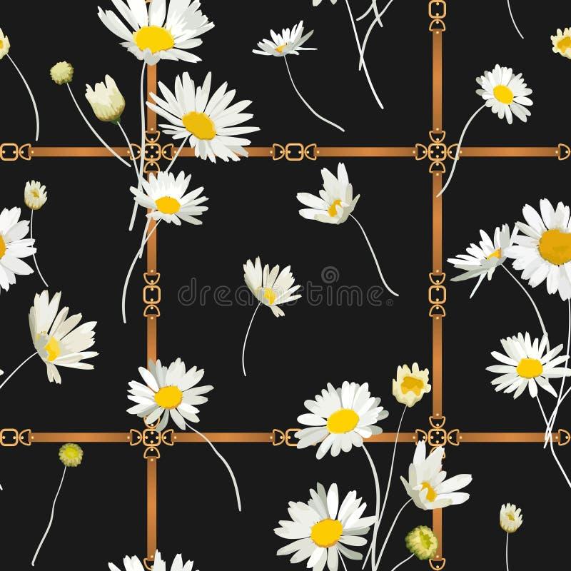 Moda Bezszwowy wzór z Złotymi łańcuchami, patkami i stokrotka kwiatami, Tkanina Tekstylny Kwiecisty druk z Chamomile royalty ilustracja