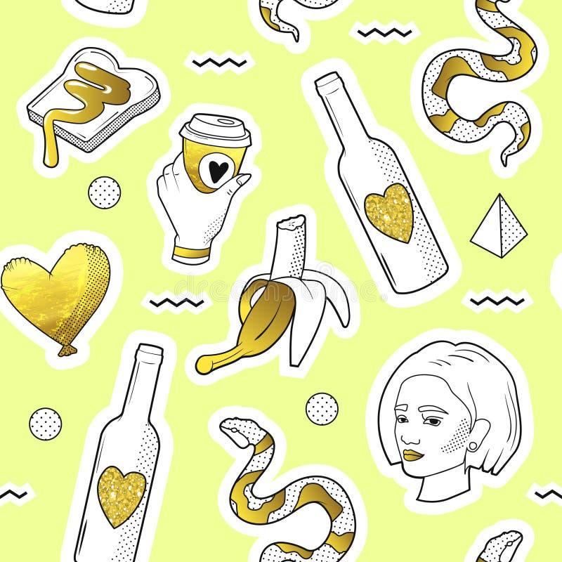 Moda Bezszwowy wzór w wystrzał sztuki stylu z Złotymi Kropkowanymi elementami Tkaniny tło 80s-90s z dziewczyną i wężem ilustracja wektor