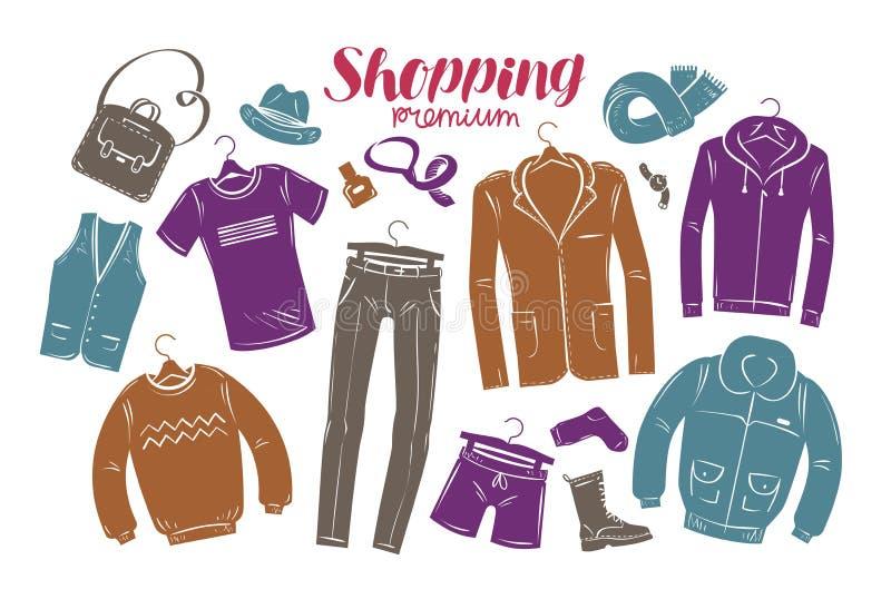 Moda, butika pojęcie Kolekcja modna mężczyzna ` s odzież również zwrócić corel ilustracji wektora ilustracja wektor