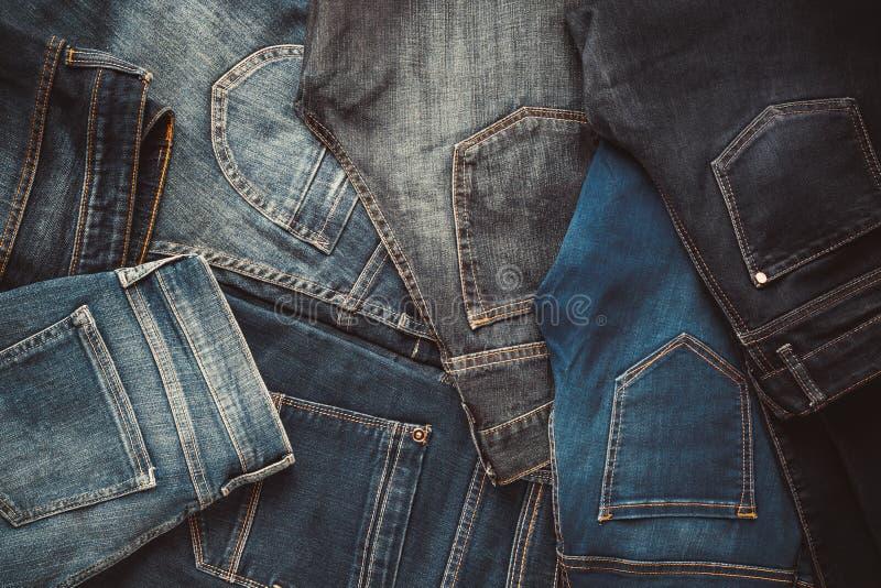 Moda cajgów różny tło zdjęcie stock