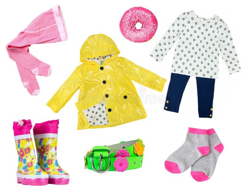 Moda colorida de la niña como collage de la ropa para la primavera aislada en blanco fotos de archivo