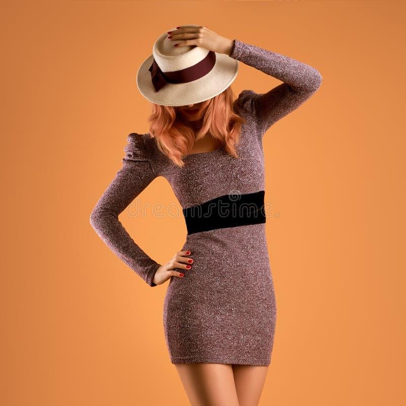 Moda de la caída Mujer Autumn Dress Piernas largas retro imagenes de archivo