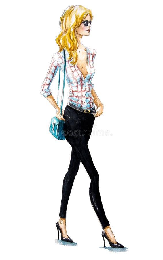 Moda de la calle El recorrer de la muchacha Mirada del verano Pintura de la acuarela stock de ilustración