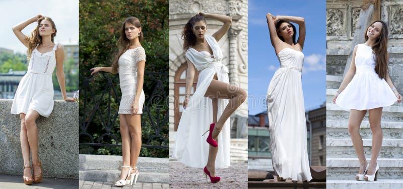 Moda de la calle, mujeres jovenes hermosas imagen de archivo